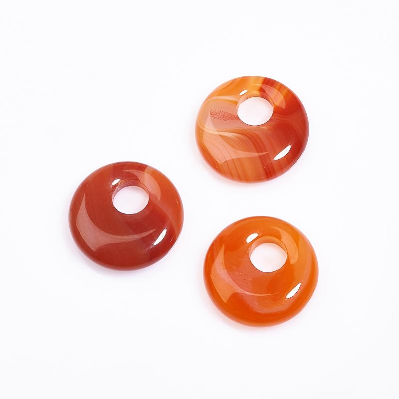 Кулон сердолик круг 1,5-2 см круг подкладной резиновый 2