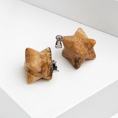 Кулон яшма рисунчатая ЮАР меркаба (биж. сплав) 2,5-3 см