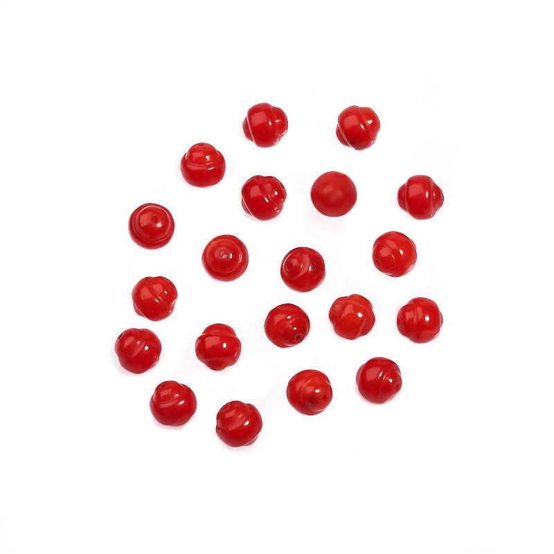 Бусина коралл красный шарик 6 мм (1 шт) бусина коралл красный сплюснутый шар 3 5 4 мм огранка 1 шт