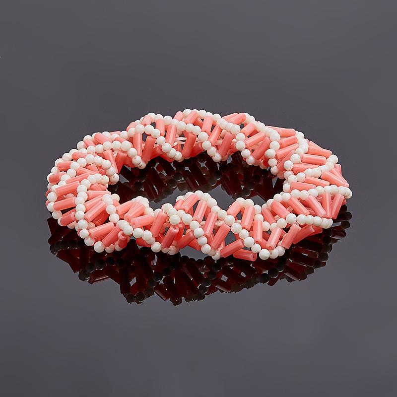 Браслет коралл розовый 16 см браслет галактика коралл