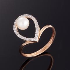 Кольцо жемчуг белый Гонконг (серебро 925 пр. позолота) размер 17