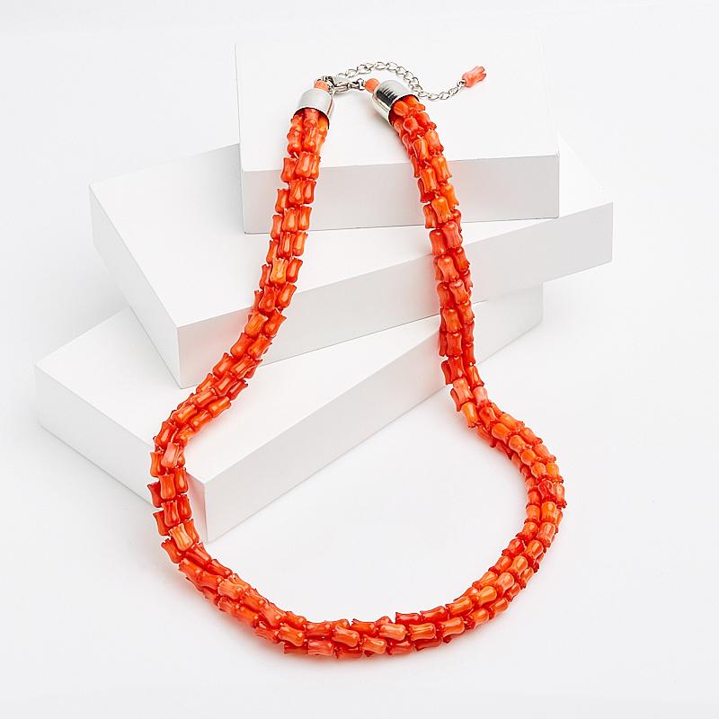 Бусы коралл оранжевый 56-63 см (хир. сталь)