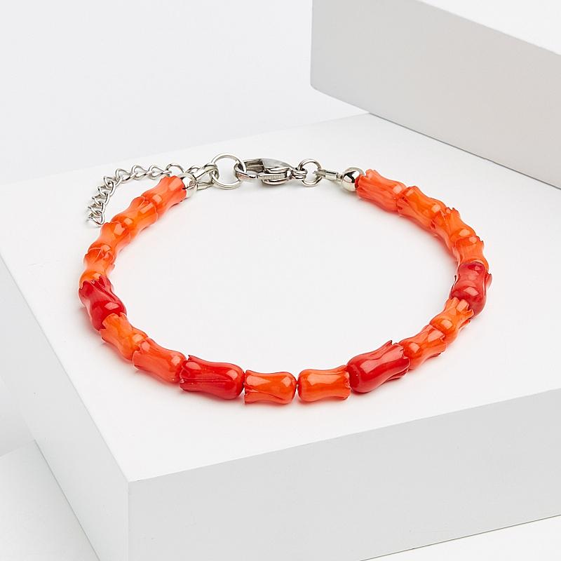 Браслет коралл красный, оранжевый 17-20 см (хир. сталь) u7 широкий браслет часов реального позолоченные моды мужчин украшения оптовой новой модной уникальный 1 5 см 20 см звено цепи браслеты