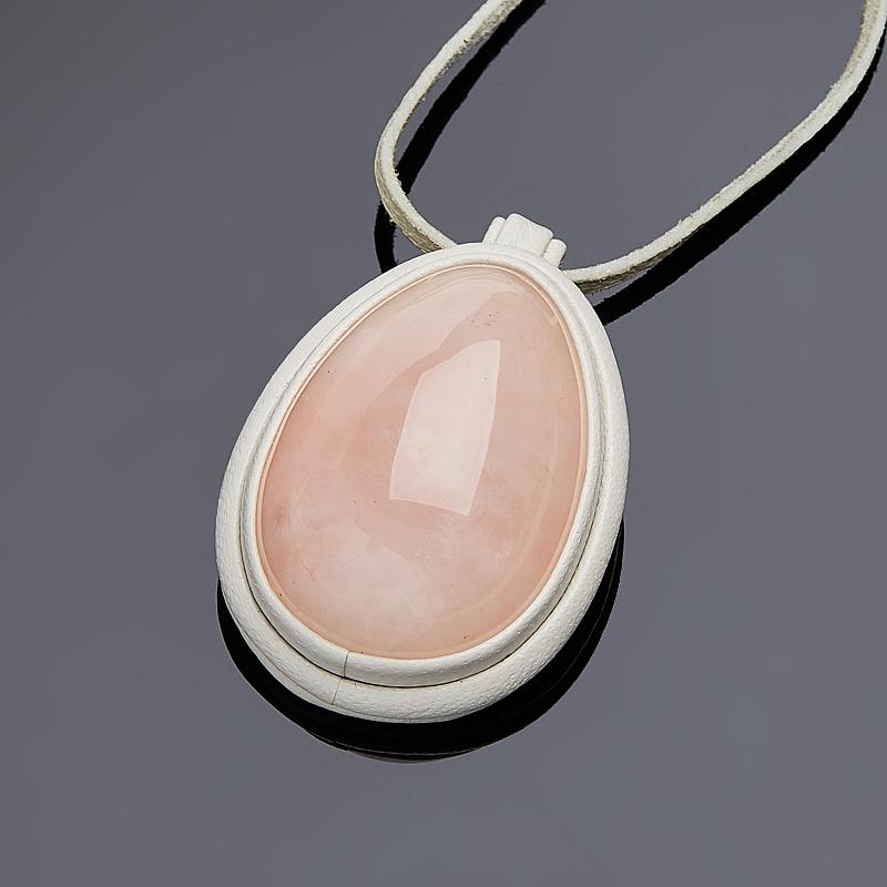 Подвеска розовый кварц капля (натуральная кожа)