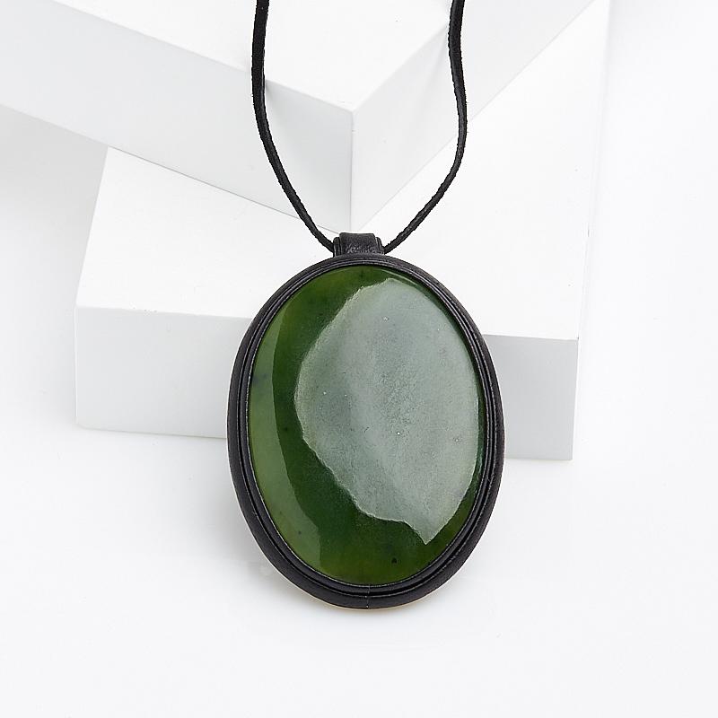 Кулон нефрит зеленый овал (натуральная кожа) браслет классика 8 нефрит револю