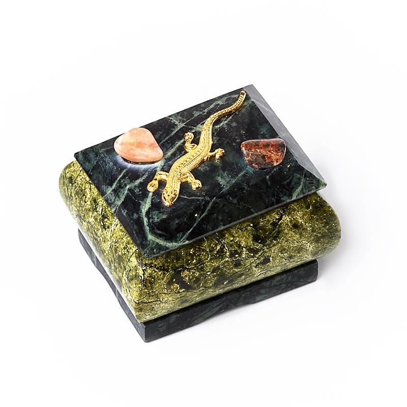 Шкатулка змеевик 7х5,5х5,5 см