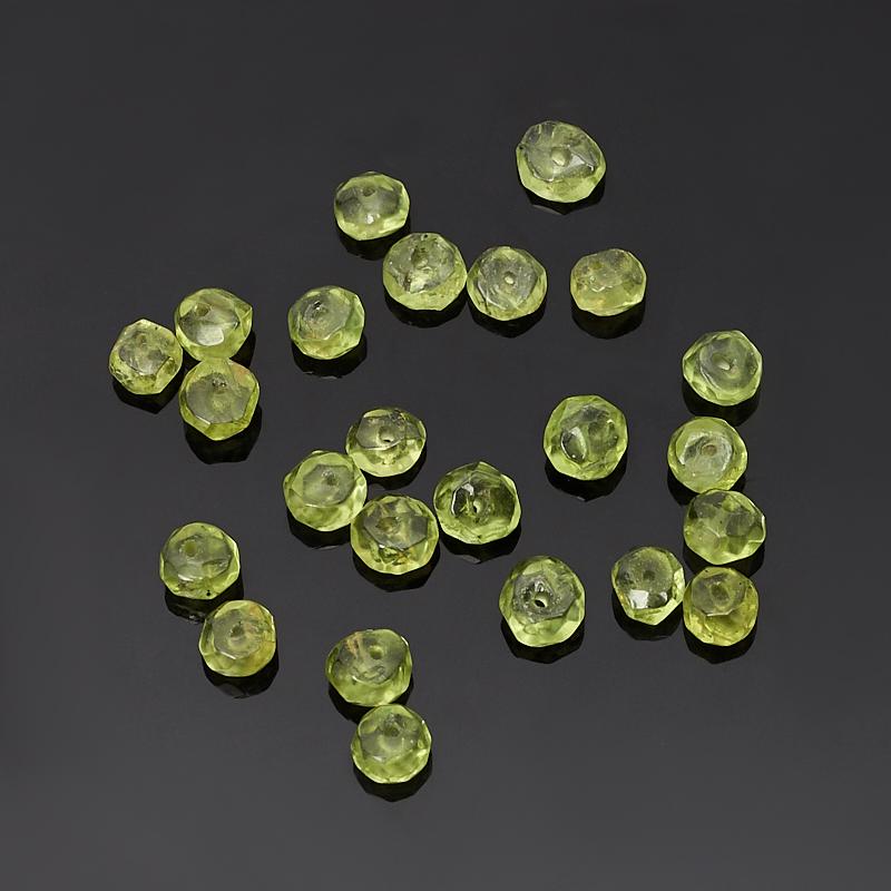 Бусина хризолит сплюснутый шар 3,5-4 мм огранка (1 шт)