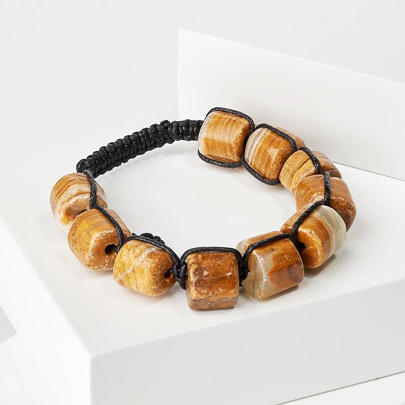 Браслет оникс мраморный коричневый шамбала 15 см