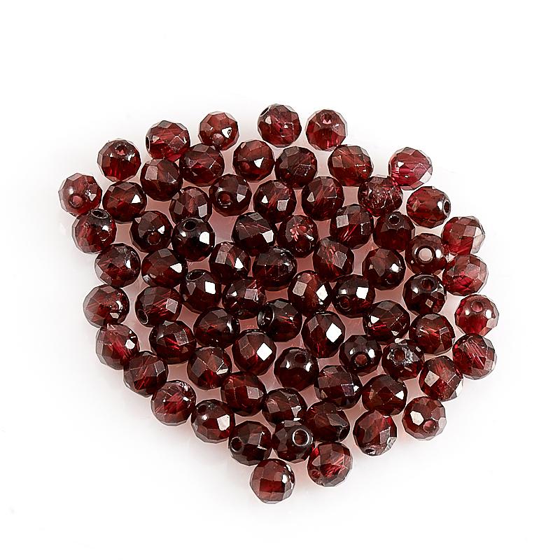 Бусина гранат альмандин шарик 3-3,5 мм огранка (1 шт) бусина коралл красный сплюснутый шар 3 5 4 мм огранка 1 шт