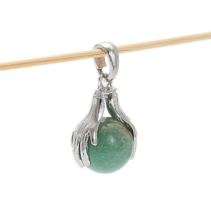Кулон авантюрин зеленый (биж. сплав) 3,5 см