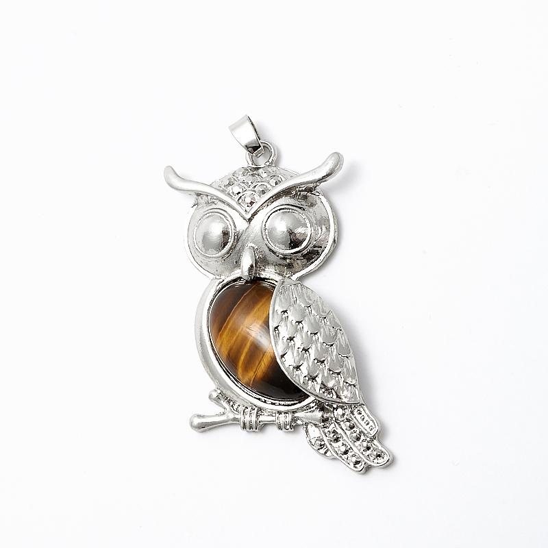 Кулон тигровый глаз сова (биж. сплав) 7 см белый свитер ожерелье животных давно сплава страз сова кулон цепи
