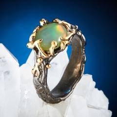 Кольцо опал благородный желтый Эфиопия (серебро 925 пр., позолота) размер 17,5