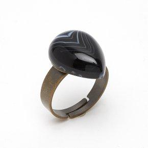 Кольцо агат черный Бразилия (биж. сплав) размер регулируемый