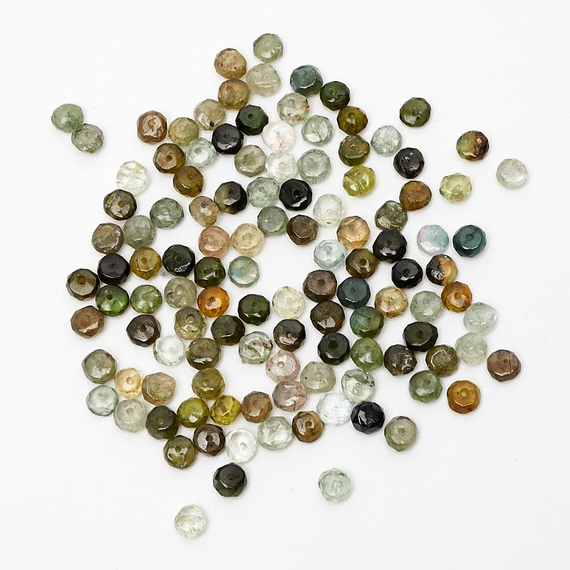 Бусина турмалин зеленый (верделит) сплюснутый шар 4-4,5 мм огранка (1 шт)
