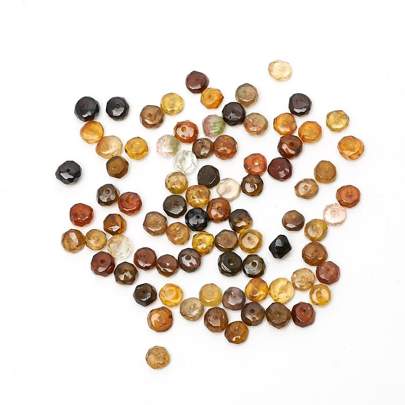 Бусина турмалин коричневый (дравит) сплюснутый шар 4-4,5 мм огранка (1 шт)