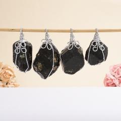 Кулон турмалин черный (шерл) Бразилия кристалл (биж. сплав) 2,5-3 см