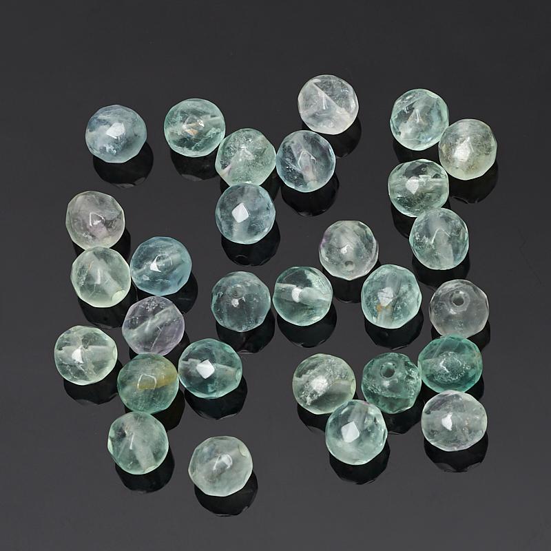 Бусина флюорит зеленый шарик 6-6,5 мм огранка (1 шт) бусина коралл красный сплюснутый шар 5 5 6 мм огранка 1 шт