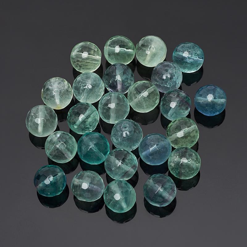 Бусина флюорит зеленый шарик 10 мм огранка (1 шт)