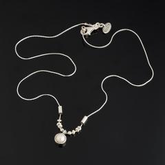 Кулон жемчуг белый Гонконг круг (серебро 925 пр.)
