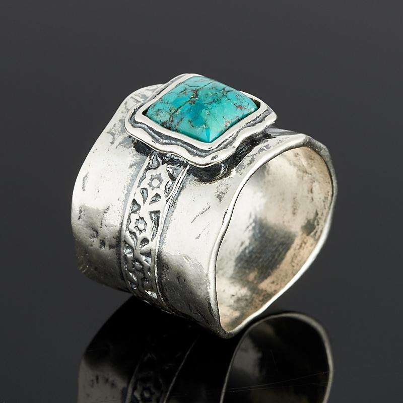 Кольцо бирюза пресс Тибет (серебро 925 пр.) размер 17,5