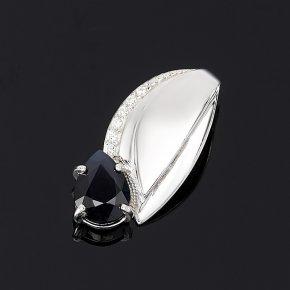 Кулон сапфир черный Индия огранка (серебро 925 пр.)