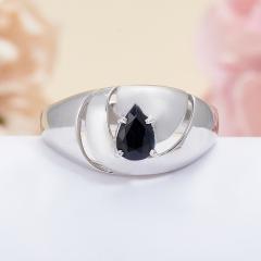 Кольцо сапфир черный Индия огранка (серебро 925 пр.) размер 18,5