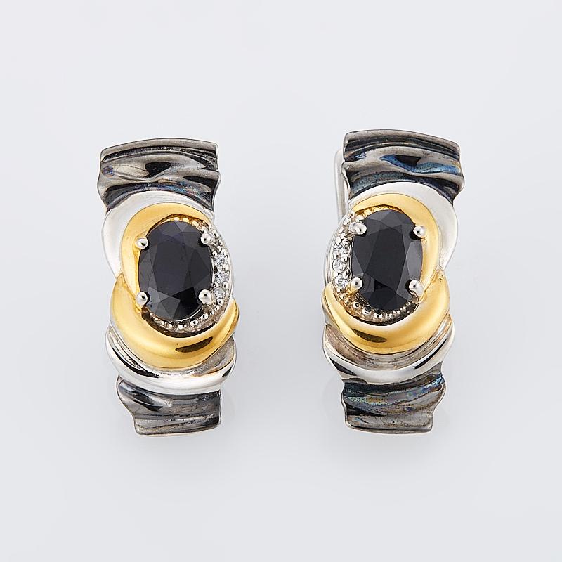 Серьги сапфир черный огранка (серебро 925 пр., позолота) муж жен гипоаллергенный серебрянное покрытие позолота серьги гвоздики гипоаллергенный черный серебряный темно синий круглый