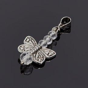 Кулон топаз серебристый Бразилия бабочка огранка (биж. сплав)