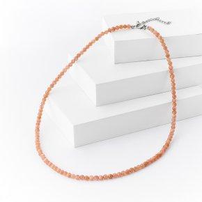 Бусы солнечный камень Индия 4 мм 53 см (+7 см) (биж. сплав)