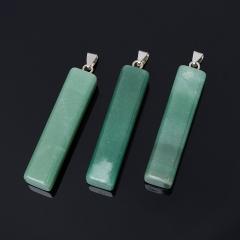 Кулон авантюрин зеленый Индия прямоугольник (биж. сплав) 6-6,5 см