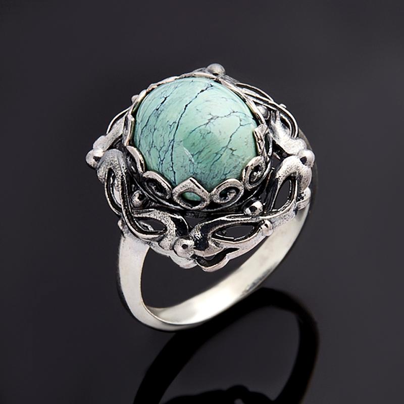Кольцо бирюза (дублет) Узбекистан (серебро 925 пр.) размер 17,5