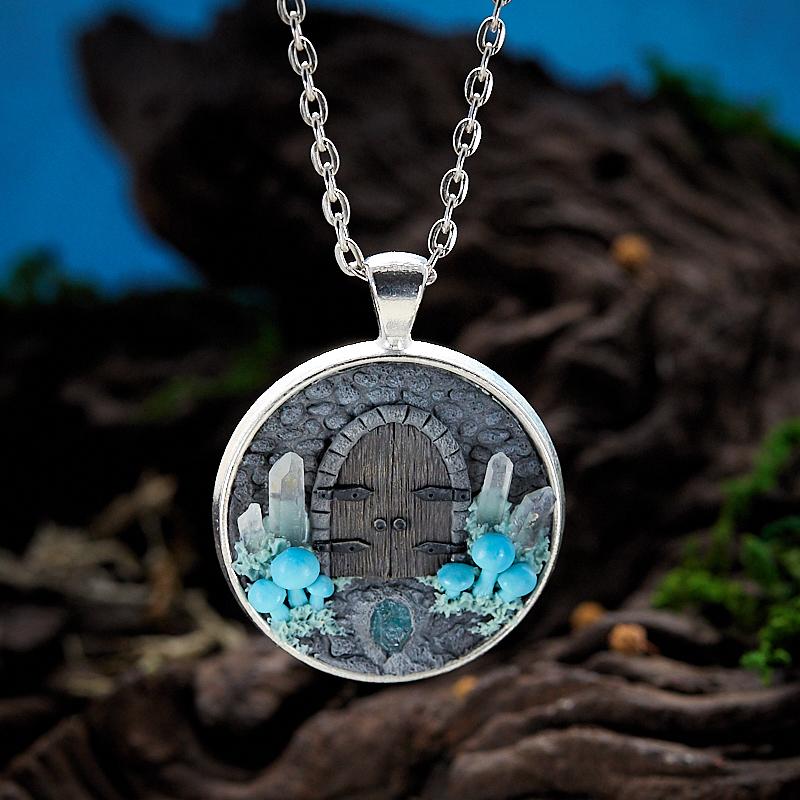 Кулон апатит, горный хрусталь круг (полимерная глина) fimo soft полимерная глина 56 гр цвет королевский синий 8020 35