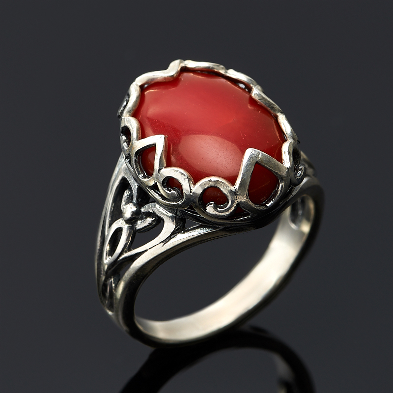 Кольцо коралл красный (серебро 925 пр.) размер 18 кольца колечки кольцо аскон им коралл