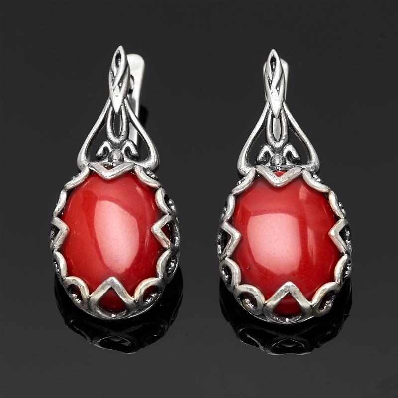 Серьги коралл красный (серебро 925 пр.) серьги естественный отбор цвет красный ч 0110