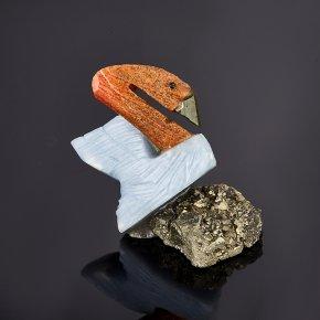 Лебедь гипс, пирит, стеатит 3 см