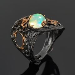 Кольцо опал белый благородный Эфиопия (серебро 925 пр. позолота, родир. черн.) размер 17,5