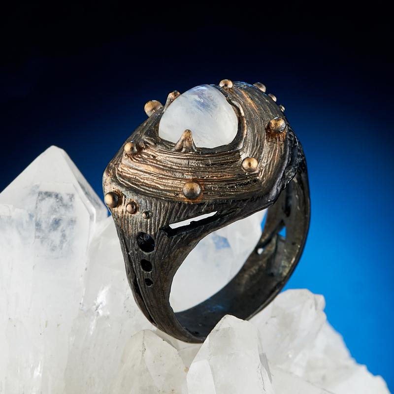 Кольцо лунный камень (серебро 925 пр. оксидир. родир. черн. позолота) размер 17