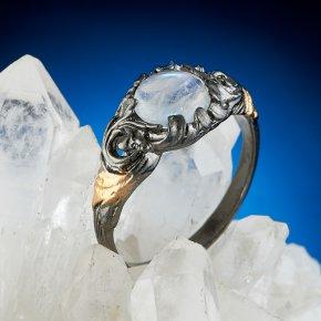 Кольцо лунный камень Индия (серебро 925 пр., позолота) размер 17