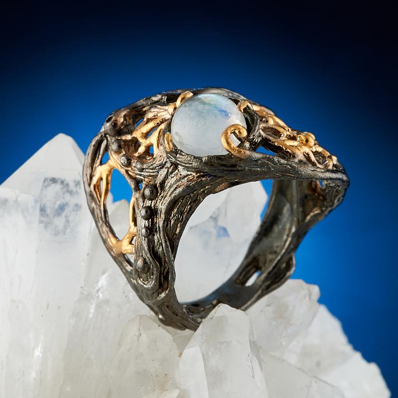 Кольцо лунный камень (серебро 925 пр., позолота) размер 17