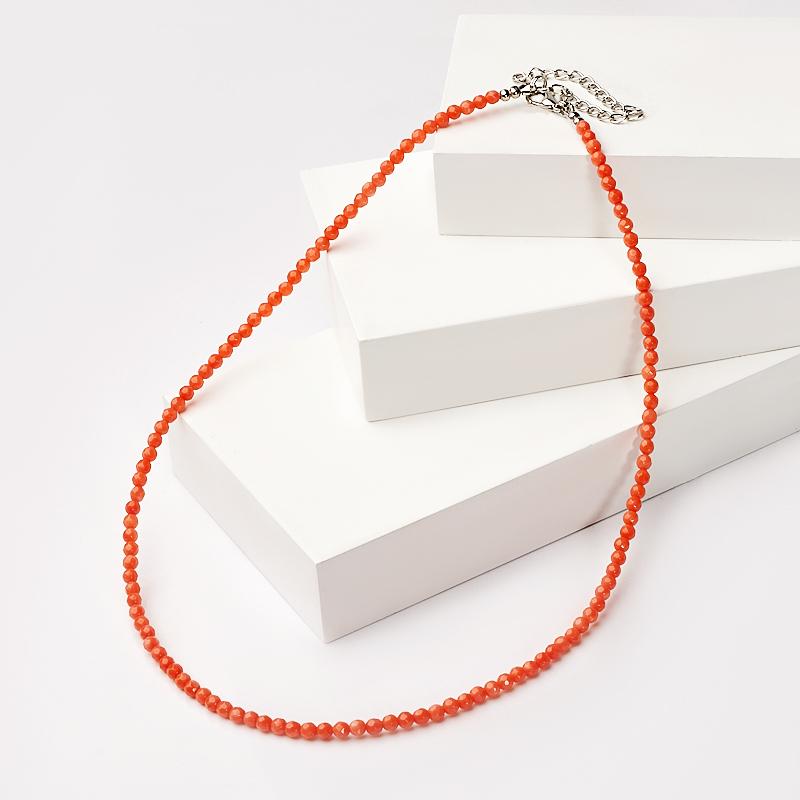 Бусы коралл оранжевый огранка 3 мм 48 см (+7 см) (биж. сплав) бусы teosa цвет фиолетовый оранжевый tur 32 50