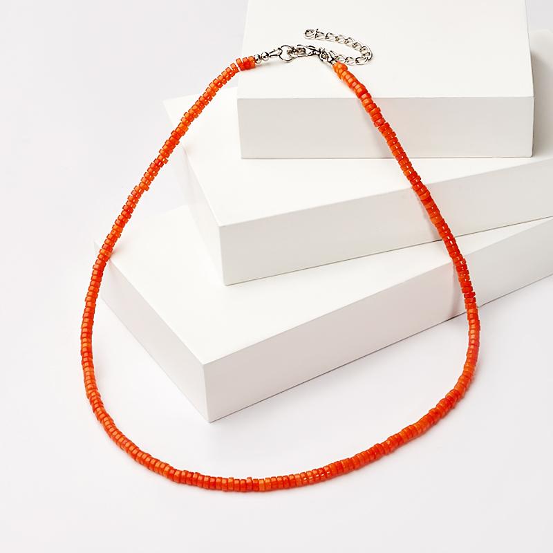 Бусы коралл оранжевый 4 мм 46-53 см (биж. сплав) авторские бусы кахолонг прес коралл хрусталь лима