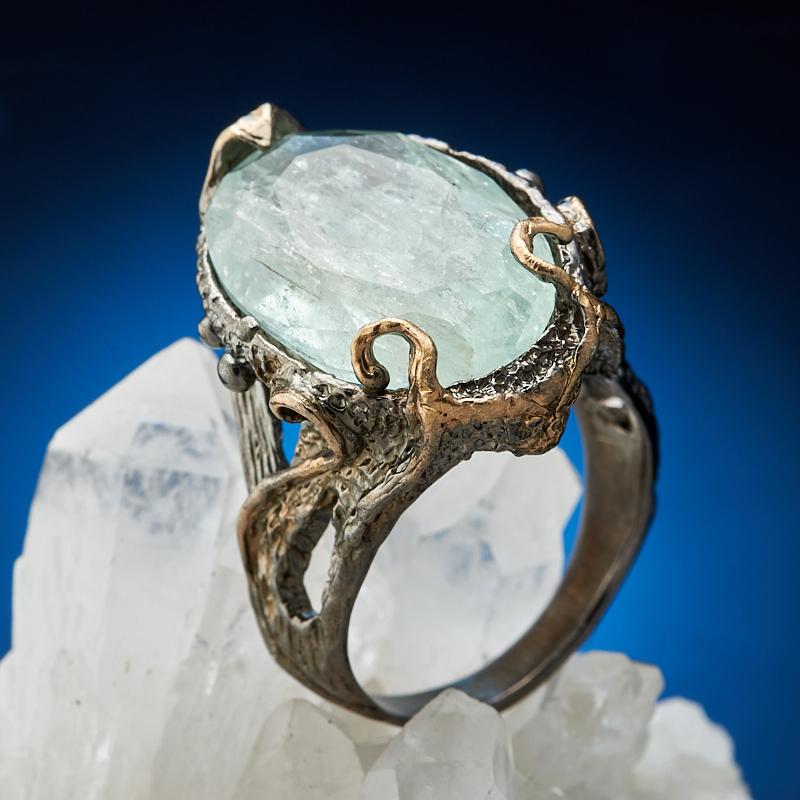 Кольцо аквамарин огранка (серебро 925 пр., позолота) размер 19