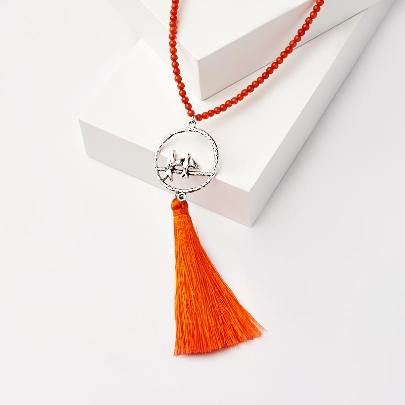 Бусы коралл оранжевый (сотуар) длинные 3 мм 94 см (биж. сплав)