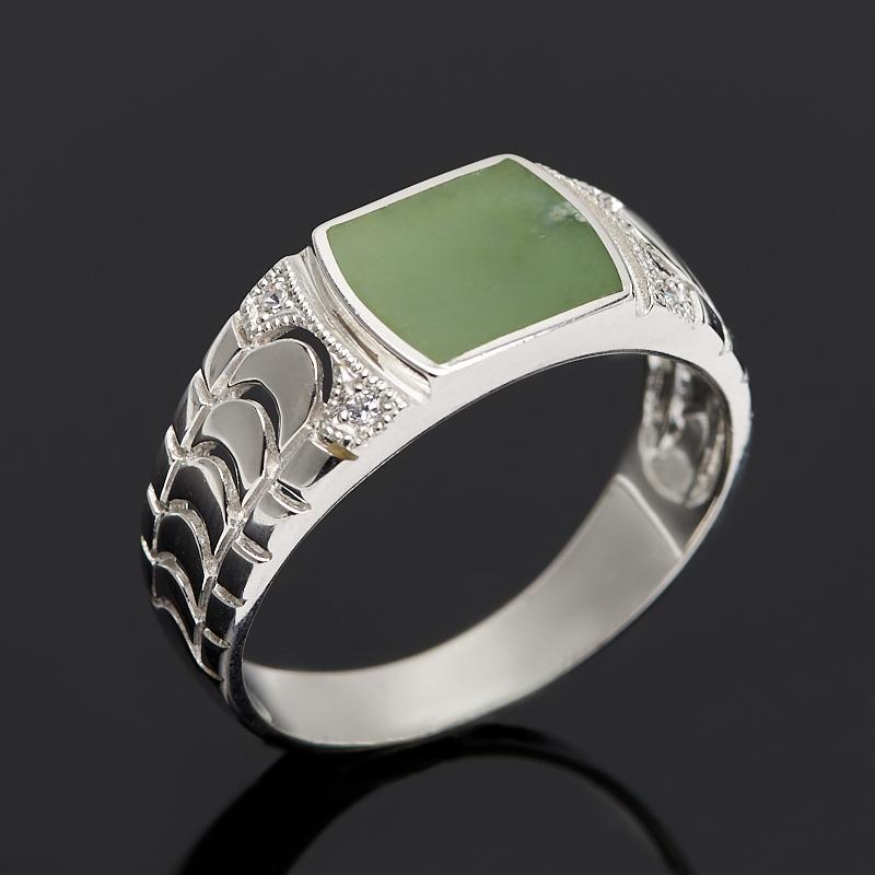 Кольцо нефрит зеленый (серебро 925 пр.) размер 20