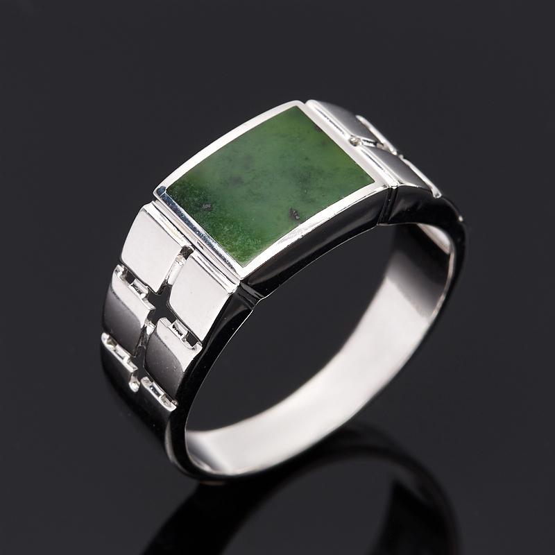 Кольцо нефрит зеленый (серебро 925 пр.) размер 19,5