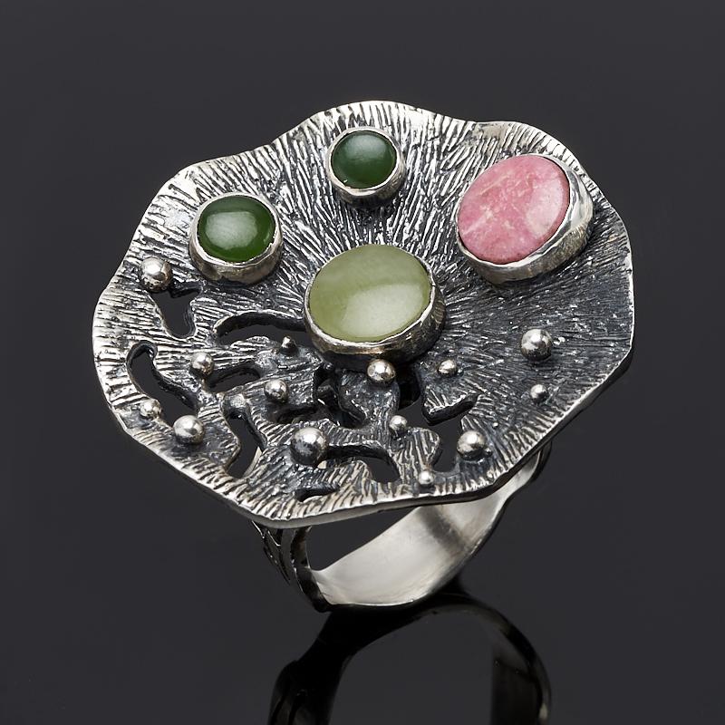 Кольцо нефрит зеленый, родонит (серебро 925 пр.) размер 18,5