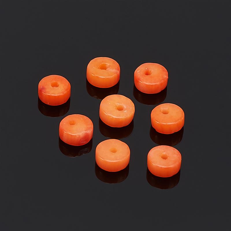 Бусина коралл оранжевый шайба 2*4 мм (1 шт) шайба нулевой отскок