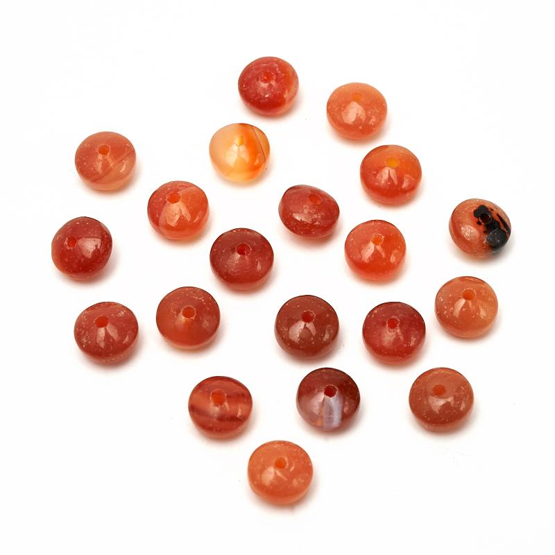 Бусина сердолик сплюснутый шар 6,5 мм (1 шт) бусина коралл красный сплюснутый шар 5 5 6 мм огранка 1 шт