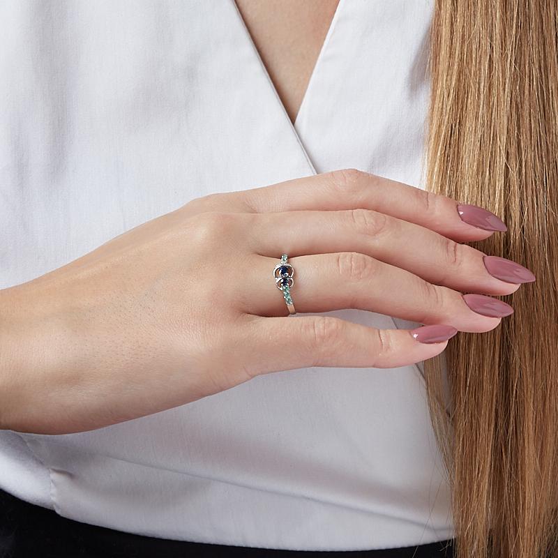 Кольцо микс изумруд, сапфир огранка (серебро 925 пр.) размер 20