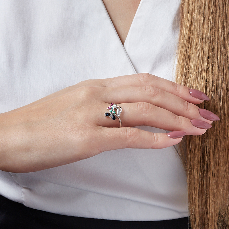 Кольцо микс изумруд, рубин, сапфир огранка (серебро 925 пр.) размер 21